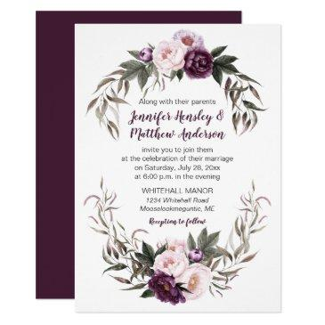 purple plum pink watercolor peonies wedding #2