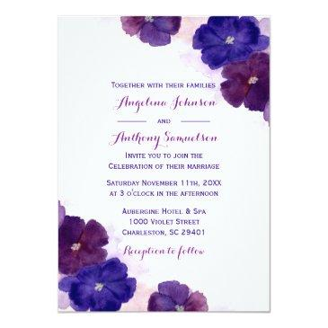 Small Purple Plum Royal Blue Watercolor Floral Wedding Invitationss Front View