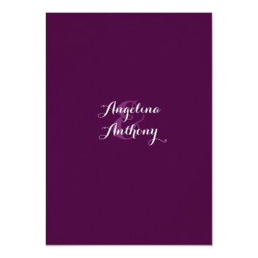 Small Purple Plum Royal Blue Watercolor Floral Wedding Invitationss Back View
