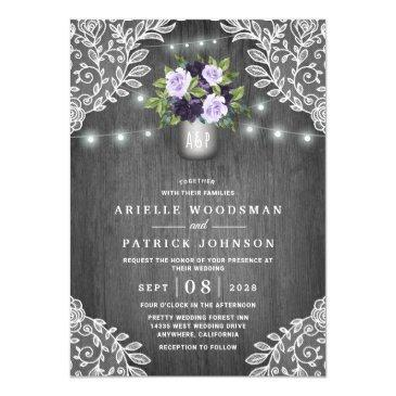purple silver gray floral rustic mason jar wedding