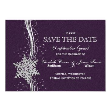 purple silver snowflakes winter save the date