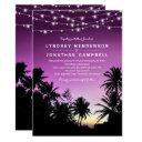 purple sunset palm tree beach lights wedding