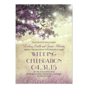 purple tree lights & birds wedding