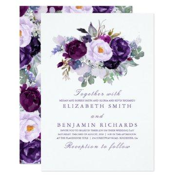 purple watercolor flowers elegant wedding