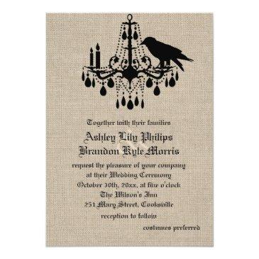raven and damask on burlap wedding