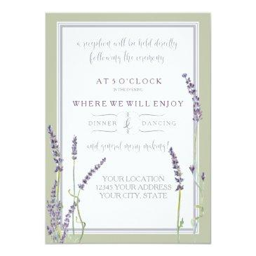 reception french lavender floral modern typography invitation
