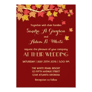 Small Red Autumn Maple Leaves Fall Wedding Invitation Front View