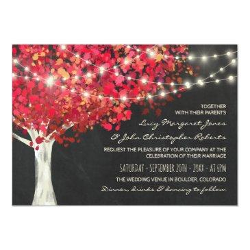 red autumn tree & string lights wedding