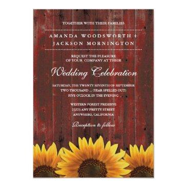 Small Red Barn Wood Rustic Sunflower Wedding Invitation Front View
