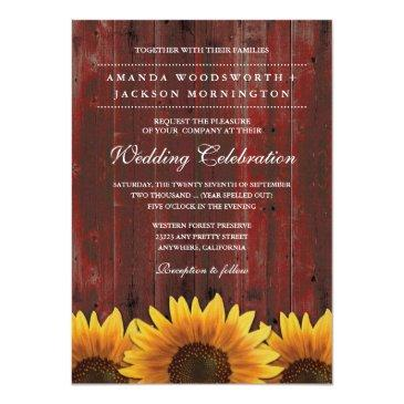 red barn wood rustic sunflower wedding invitation