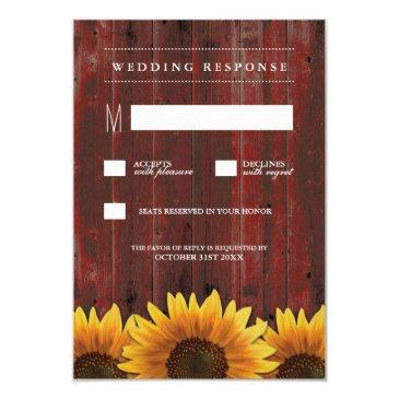 red barn wood rustic sunflower wedding rsvp
