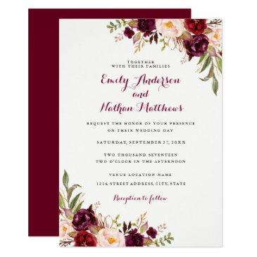 red burgundy floral fall wedding