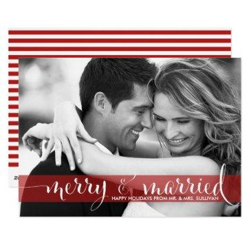red merry and married script holiday photo