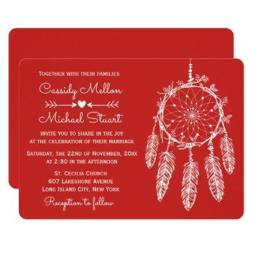 red native american dream catcher boho wedding invitation