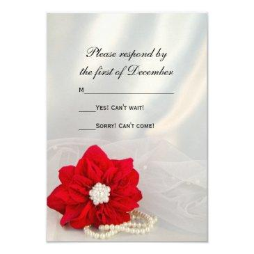 red poinsettia white pearls winter wedding rsvp