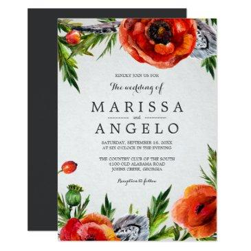 red poppies wedding invitations / gray back