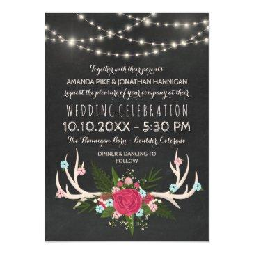 Small Red Rose Antlers - Rustic Chalkboard Wedding Invitation Front View
