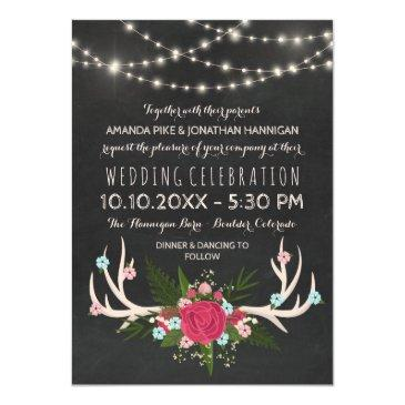 red rose antlers - rustic chalkboard wedding invitation