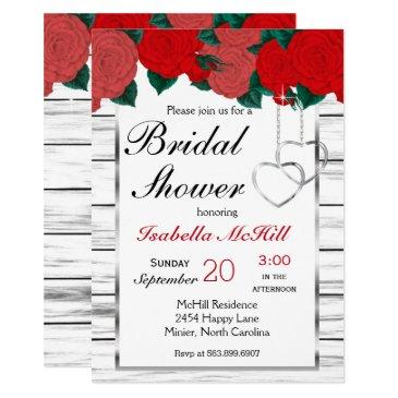 red roses on white wood -invitation