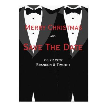 red save the date christmas  gay wedding