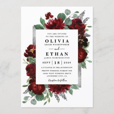 red & silver country burgundy rose winter wedding invitation
