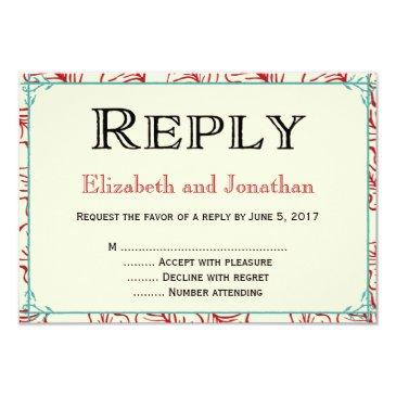 red & turquoise rustic wedding reply rsvp