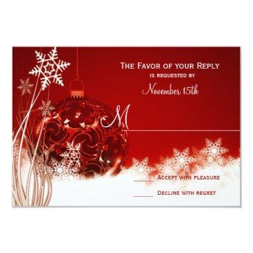 red white christmas holiday wedding rsvp