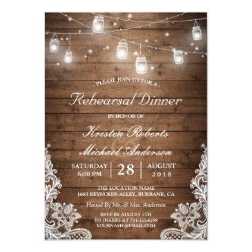 Small Rehearsal Dinner Rustic Wood Mason Jar Lights Lace Invitationss Front View