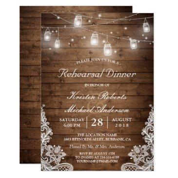 rehearsal dinner rustic wood mason jar lights lace invitations