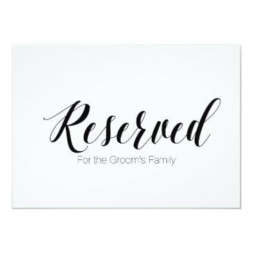 """""""reserved for groom's family"""" wedding sign"""