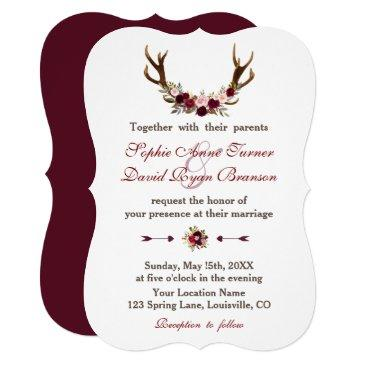 romantic burgundy marsala floral antlers wedding