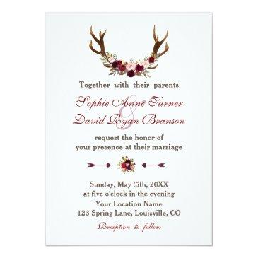 Small Romantic Burgundy Marsala Floral Antlers Wedding Front View