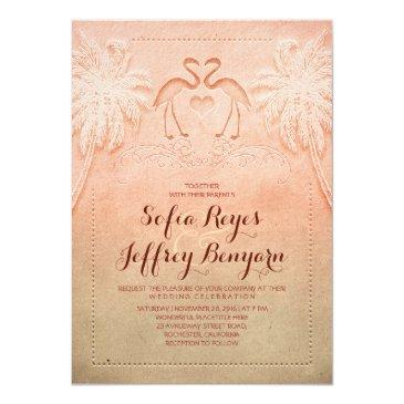 Small Romantic Flamingo Beach Wedding Invitations Front View