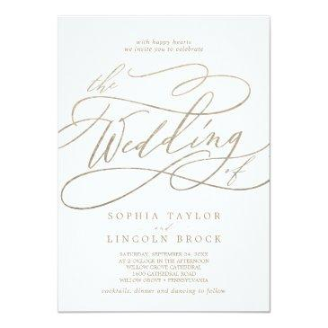Small Romantic Gold Calligraphy All In One Wedding Invitation Front View