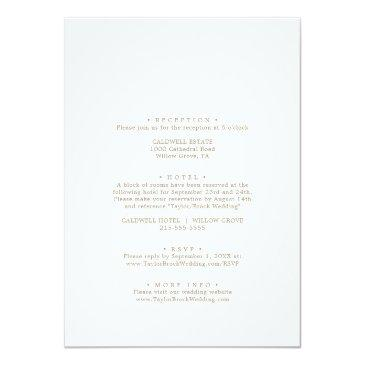 Small Romantic Gold Calligraphy All In One Wedding Invitation Back View