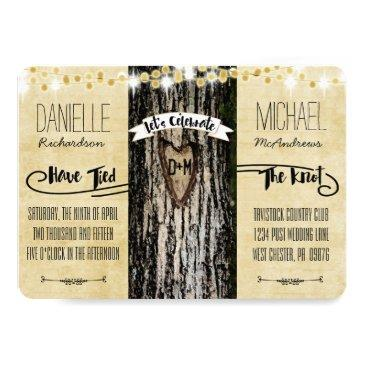 romantic lights & rustic tree post wedding invite