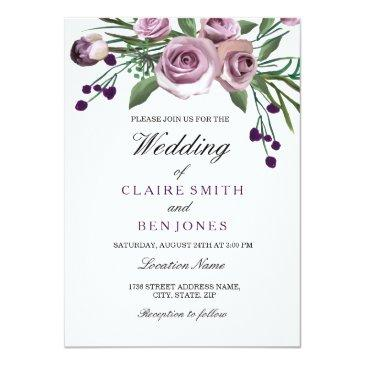 Small Romantic Plum Purple Rose Floral Wedding Invite Front View