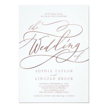 Small Romantic Rose Gold Calligraphy The Wedding Of Invitation Front View