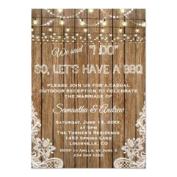Small Romantic Rustic Lace String Lights I Do Bbq Invitation Front View