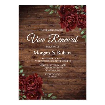romantic rustic red rose vow renewal invite