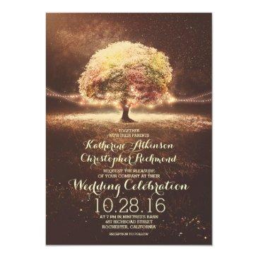 Small Romantic String Lights Tree Fall Wedding Invites Front View
