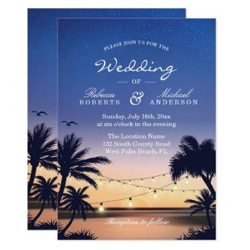 romantic sunset palm beach string lights wedding