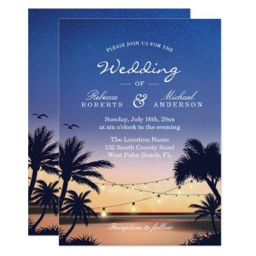 romantic sunset palm beach string lights wedding invitation