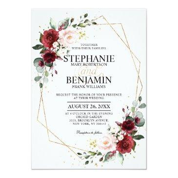 Small Romantic Watercolor Burgundy Floral Geometric Invitation Front View