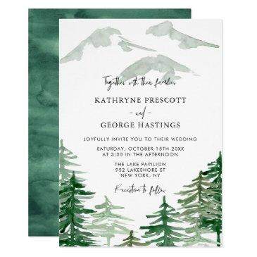 romantic watercolor woodland wedding invitations