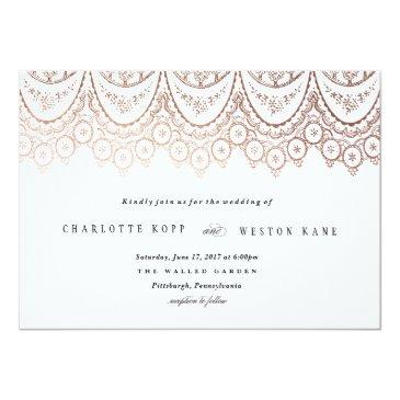 Small Rose Gold Delicate Lace Wedding Invitations Front View