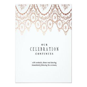 Small Rose Gold Delicate Wedding Enclosure Invitationss Front View