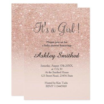 rose gold faux glitter pink ombre girl baby shower