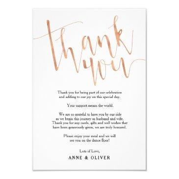 rose gold thank you invitationss wedding