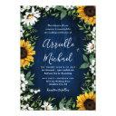 royal blue sunflower country wedding invitationss